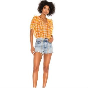 For Love and Lemons Gingham Chiffan Mimosa Blouse